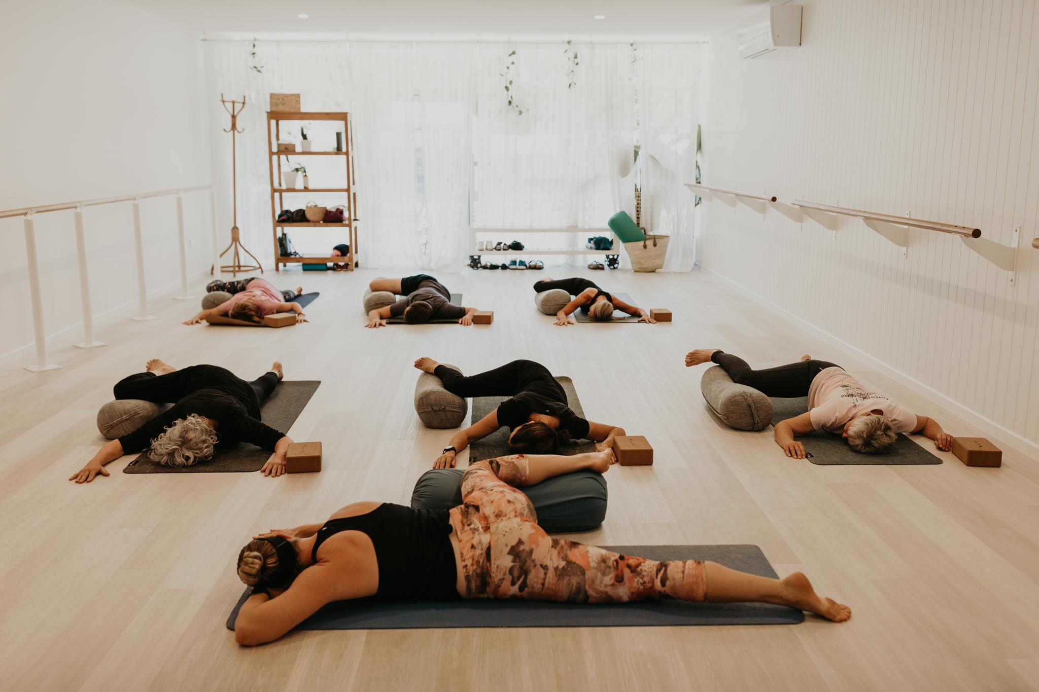 haven yoga barre pilates buderim studio yin class relaxing