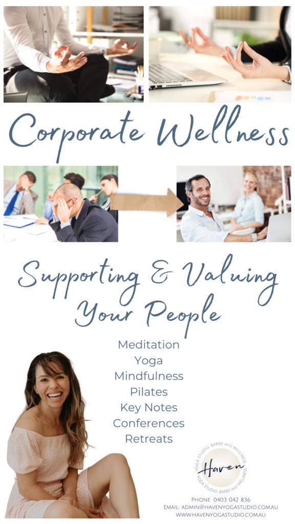 Haven yoga studio buderim sunshine coast corporate workplace wellbeing wellness meditation leadership stress mindfulness corporate professional development