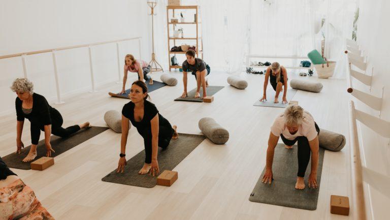 Beginners Yoga Buderim class women
