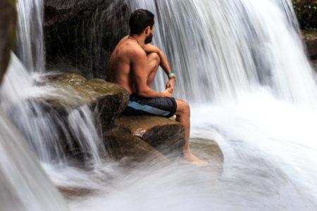 yoga wellness retreat queensland waterfall man