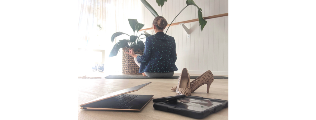 corporate yoga meditation mindfulness coaching sunshine coast laptop
