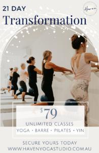 haven yoga 21 day transformation yoga barre pilates yin sunshine coast buderim studio